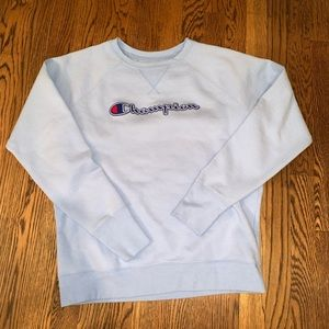 Champion Baby Blue Logo Crewneck Sweatshirt SZ Med